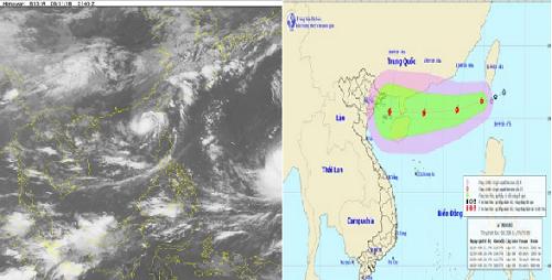 Đường đi và ảnh vệ tinh của cơn bão