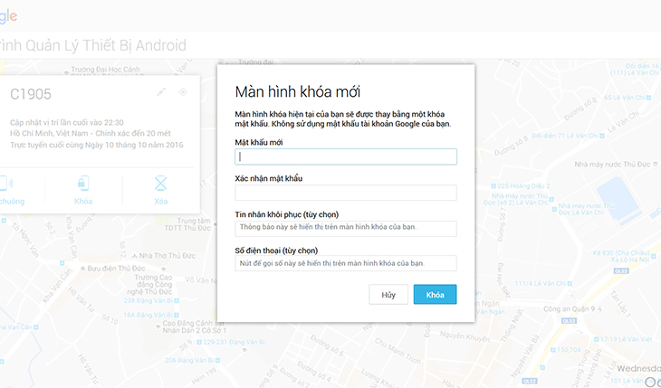 Người dùng có thể tự khóa điện thoại từ xa