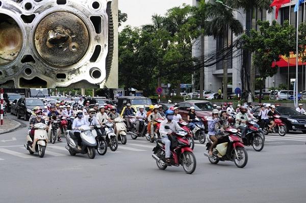 Xe máy tốn xăng nhanh hơn nếu để động cơ bám nhiều cặn bẩn