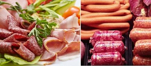 Thịt chế biến sẵn gồm xúc xích, thịt xông khói có thể gây ung thư vú ví chứa chất bảo quản natri nitrit