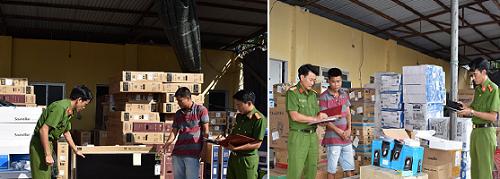 Công an tỉnh Ninh Bình tiến hành lập biên bản và thu giữ toàn số hàng hóa gồm ti vi, loa vi tính...
