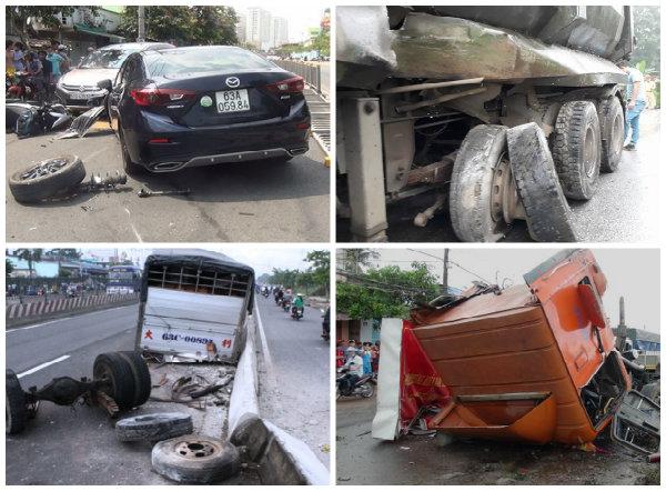 Khi ô tô bị nổ lốp tài xế không được phanh gấp và đánh lái có thể khiến xe lật ngang đường