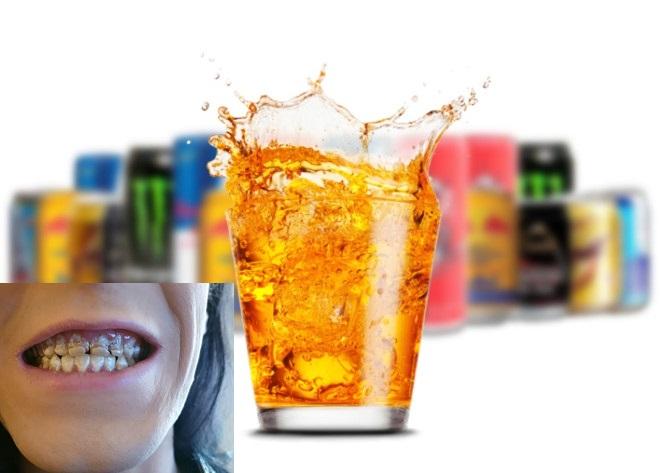Uống nhiều nước tăng lực có thể gây mục răng, huyết áp cao...