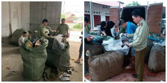 Nhập lậu hàng hóa bị lực lượng chức năng Lạng Sơn phát hiện và thu hồi. Ảnh: Cục QLTT Lạng Sơn