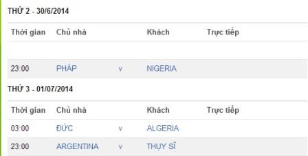 Lịch thi đấu World Cup 2014 hôm nay ngày 30/6 rạng sáng 1/7 với tâm điểm là trận đấu Đức - Algeria