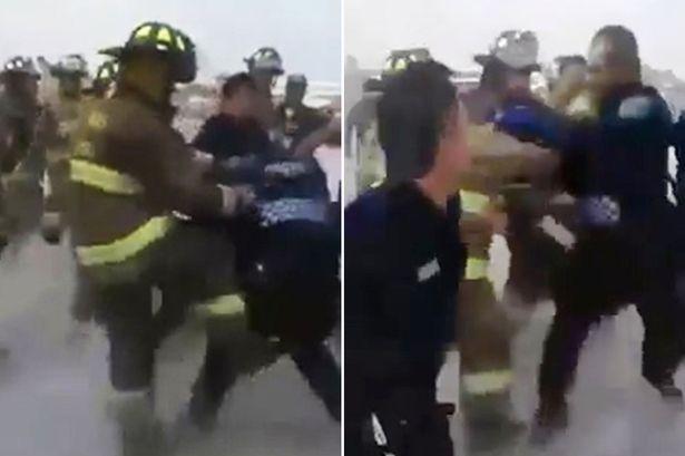 Lính cứu hỏa tấn công cả cảnh sát đến can ngăn