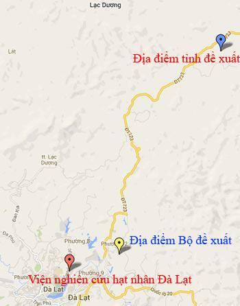 Vị trí xây dựng lò phản ứng hạt nhân mới của Bộ và tỉnh Lâm Đồng