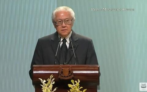 Tổng thống Singapore Tony Tan đọc điếu văn trong lễ tang ông Lý Quang Diệu
