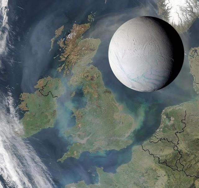 Kích thước Enceladus - Mặt trăng của sao Thổ - so sánh với Vương quốc Anh.