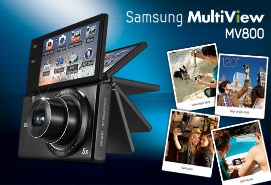 Màn hình lật đa chiều của máy ảnh giá rẻ Samsung MV800 đem lại sự tiện lợi cho người dùng