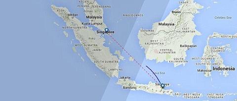 Bản đồ về đường bay của chiếc máy bay Airbus A320-200 (số hiệu QZ8501). Chiếc máy bay trên đã mất liên lạc với tháp điều hành bay Jakarta vào lúc 6 giờ 17 phút (giờ địa phương) (2317 GMT).