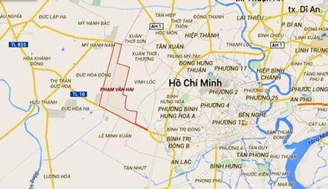 Vị trí chiếc máy bay rơi được xác định ở khu vực nông trường Phạm Văn Hai, huyện Bình Chánh, TPHCM (vùng khoanh đỏ trên bản đồ).