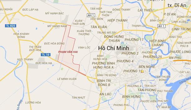 Khu vực xã Phạm Văn Hai được khoanh đỏ được xác định là nơi trực thăng mất liên lạc