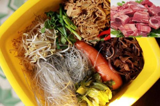 Nguyên liệu làm món ăn ngày Tết miến nấu măng sườn