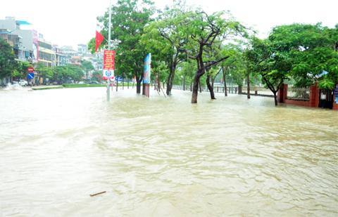 Mưa lũ Quảng Ninh kéo dài từ ngày 25/7 đến nay đã làm toàn bộ TP Hạ Long, TP Cẩm Phả bị tê liệt hoàn toàn về giao thông. Ảnh Người Đưa Tin