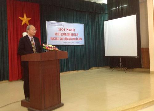 ông Lê Xuân Thám – Trưởng ban điều hành Dự án NSCL tỉnh Lâm Đồng phát biểu trong lễ sơ kết 2 năm thực hiện dự án NSCL
