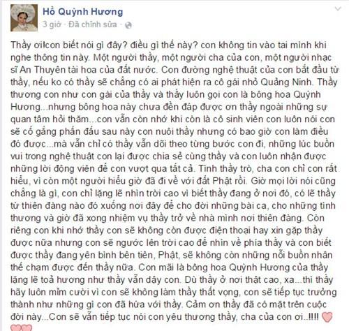 Người hâm mộ không khỏi nghẹn ngào trước sự tiếc thương, kính trọng của ca sĩ Hồ Quỳnh Hương dành cho nhạc sĩ An Thuyên