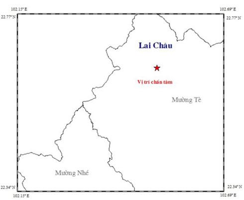 Động đất sâu chấn 12km xảy ra ở Lai Châu
