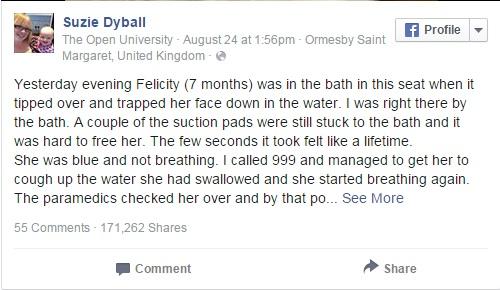 Câu chuyện ghế tắm cho bé khiến trẻ suýt chết đuối được bà mẹ người Anh Suzie Dyball chia sẻ trên mạng Facebook