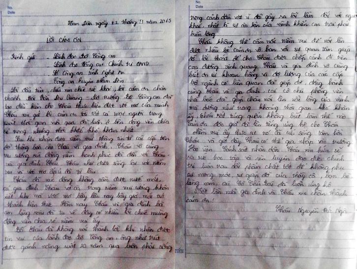 Bức thư cảm ơn đầy xúc động của em Nguyễn Đức Ngà gửi tới Bộ trưởng Bộ Công an và mọi người