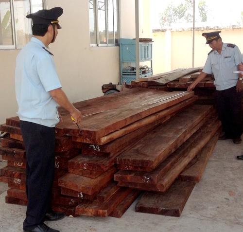 Tang vật 1 vụ buôn lậu gỗ do Chi cục Hải quan cửa khẩu Dinh Bà (Cục Hải quan Đồng Tháp) bắt giữ ngày 11-2-2014. Ảnh: Đăng Nguyên, báo Hải Quan