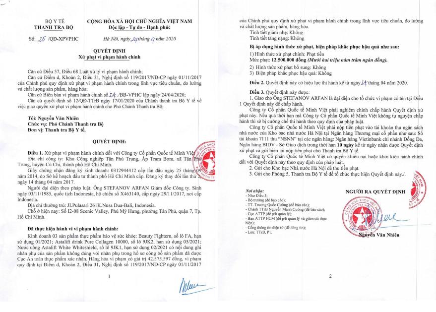 Công ty CP Quốc tế Minh Việt vi phạm hành chính về tiêu chuẩn đo lường chất lượng