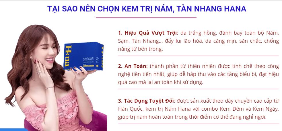 Ngọc Trinh quảng cáo sản phẩm Hana. Hình ảnh cắt từ web https://www.myphamhana.net