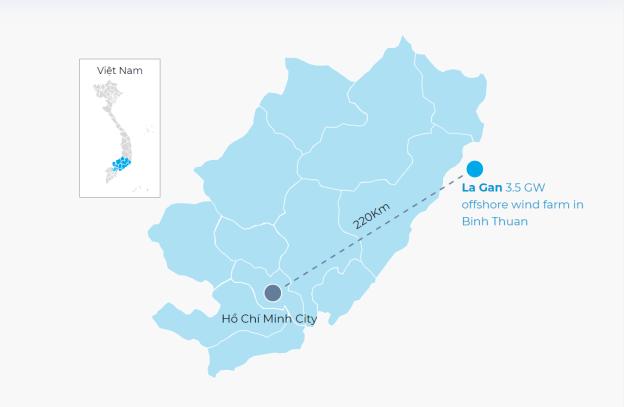 Vị trí dự án điện gió ngoài khơi La Gàn được phát triển bởi bởi Copenhagen Infrastructure Partners, Asiapetro và Novasia, và được quản lý bởi Copenhagen Offshore Partners, chuyên gia về điện gió ngoài khơi.