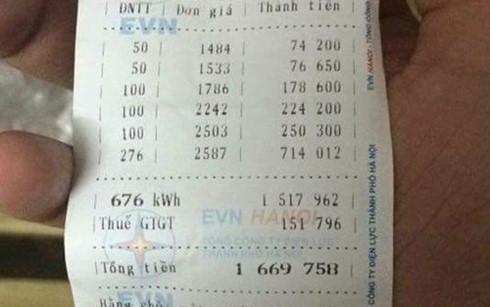 Hoá đơn tiền điện tăng cao gấp đôi, gấp ba trong tháng 2/2016 khiến nhiều hộ dân Hà Nội bức xúc