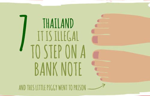 Trong khi đó ở Thái Lan, giẫm chân lên một hóa đơn ngân hàng là điều phạm luật
