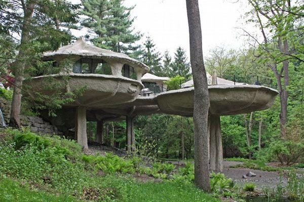 Nhà nấm ở Perinton, New York. Ngôi nhà này là một nơi yên tĩnh, cách biệt với môi trường ồn ào của New York bởi những bức tường bê tông kiên cố