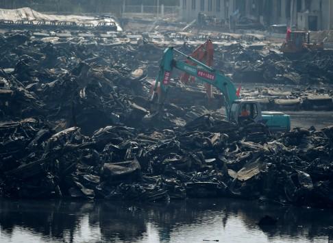 Hiện trường vụ nổ nhà máy hóa chất ở Thiên Tân sau khi được dập lửa hơn 1 tuần
