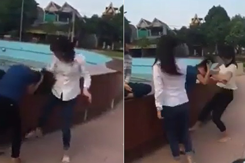 Hình ảnh nữ sinh đánh nhau cắt ra từ đoạn clip