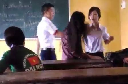 Sau khi clip nữ sinh đánh nhau xuất hiện trên mạng, nữ sinh đánh bạn đã bị đình chỉ học 1 tuần