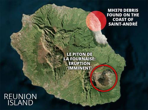 Vị trí phát hiện mảnh vỡ nghi của máy bay MH370 và vị trí núi lửa trên đảo Reunion