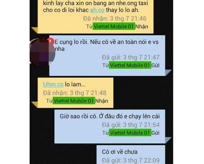 Trong lúc đi, Oanh nhắn tin cho một học sinh cho biết cô rất bất an vì tài xế chở đi theo một hướng khác. Ảnh VnExpress