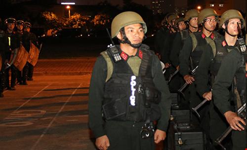 100 chiến sĩ tinh nhuệ, chuẩn bị kế hoạch bảo vệ Tổng thống Obama. Ảnh do công an cung cấp