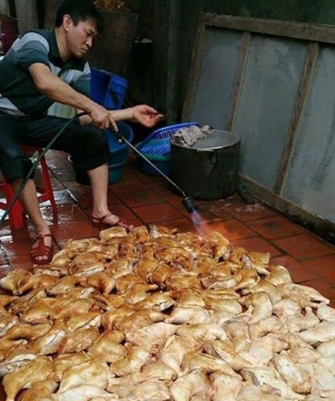 thực phẩm bẩn được chế biến trên sàn nhà khiến người tiêu dùng hoang mang