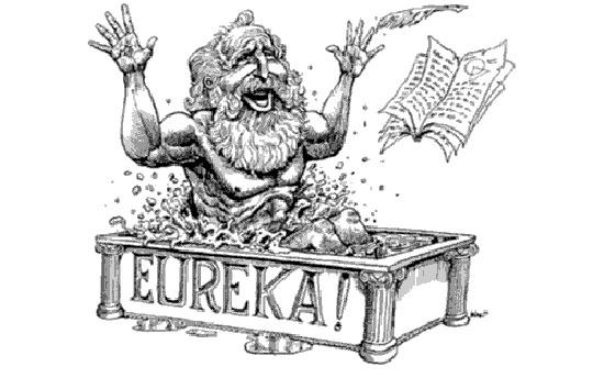 Hình ảnh Archimedes với câu nói nổ tiếng 'Eureka' khi phát hiện ra phát minh mới đã đi vào lịch sử