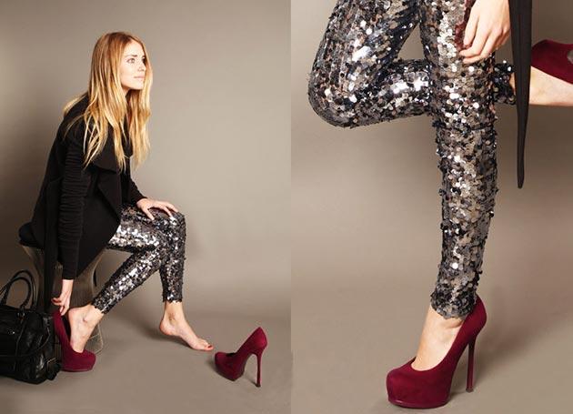 Mix quần legging với giày cao gót