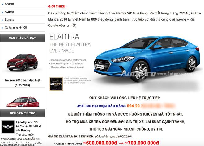 Thông tin từ website của một đại lý được cho là Hyundai chính hãng tại Việt Nam công bố thông tin ô tô Hyundai Elantra 2016 sắp được bán tại Việt Nam với giá từ 600 triệu đồng. Ảnh: Trí thứ trẻ