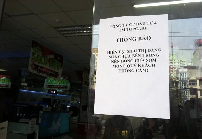 Thông báo đóng cửa sửa chữa của siêu thị điện máy Topcare