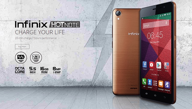 Infinix Hot Note. Ảnh: Gizguide