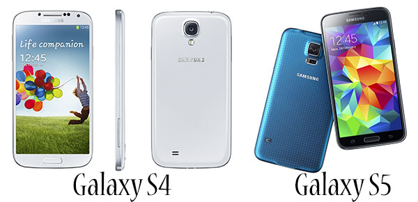 Galaxy S4 và Galaxy S5 là 2 sản phẩm smartphone mới nhất được bán ra vào năm 2014