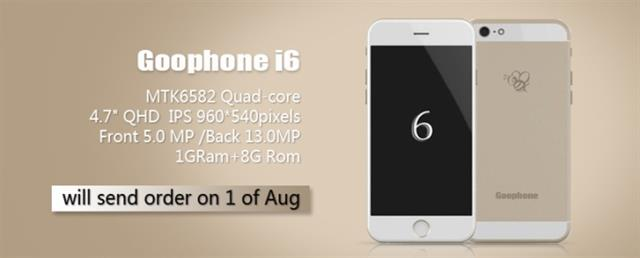 Goophone i6 là một trong nhiều smartphone giá rẻ của các nhà sản xuất Trung Quốc có thiết kế tương tự Iphone