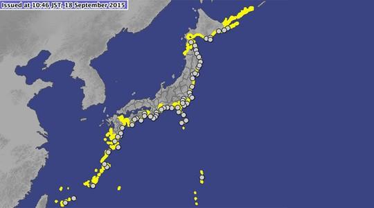 Hàng chục cơn sóng thần nhỏ sinh ra từ trận động đất 8,3 độ Richter ở Chile đã tràn vào bờ biển phía Đông Bắc Nhật Bản hôm 18/9, khiến chính quyền nước này cảnh báo người dân. Ảnh: jma.go.jp