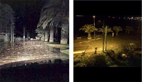 Hình ảnh về cảnh ngập lụt trên các đường phố Concon xuất hiện tràn ngập trên mạng cho thấy một số hư hại do dòng nước gây ra