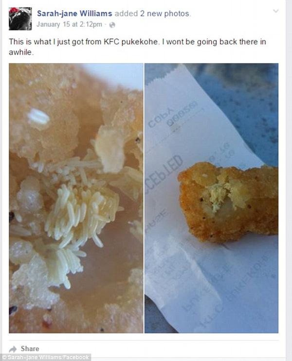 Dòng trạng thái cùng hình ảnh của cô Williams sau sự cố ăn phải gà rán KFC có trứng ruồi