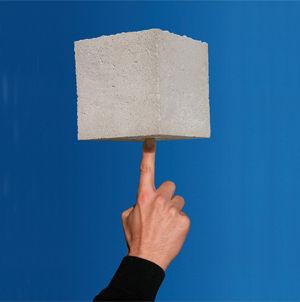 Bê tông nhẹ bọt xốp có tỷ trọng chỉ bằng 1/10 so với bê tông thường