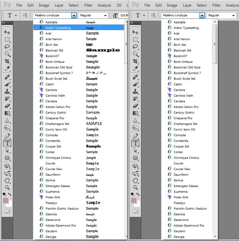 tắt chế độ coi Font chữ demo trong Photoshop là 1 cách đơn giản để cải thiện năng suất làm việc